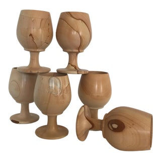 Natural Stone Onyx Carved Goblets - Set of 6 For Sale