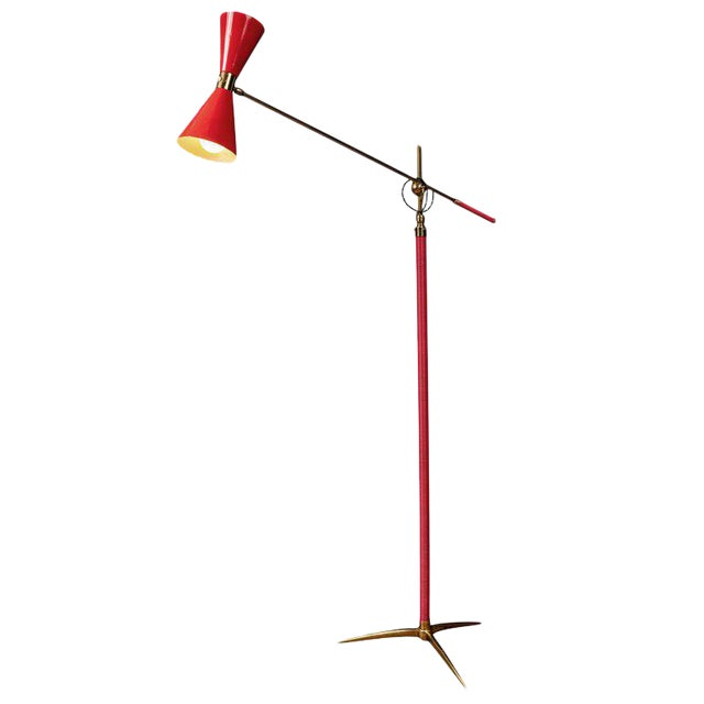 1950s Vintage French Red Articulating Floor Lamp For Sale