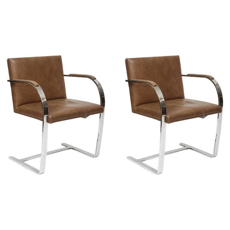 Ludwig Mies Van Der Rohe Flat Bar Brno Chairs   A Pair For Sale