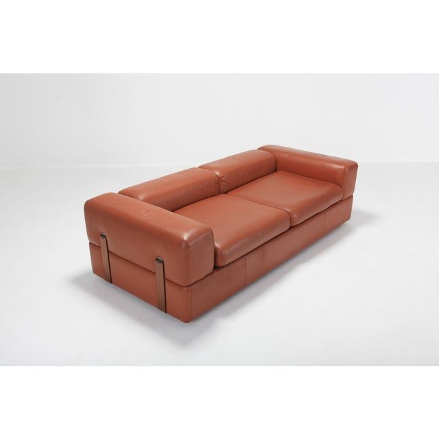 Minimalist Cognac Leather Sofa by Tito Agnoli for Cinova For Sale - Image 6 of 12