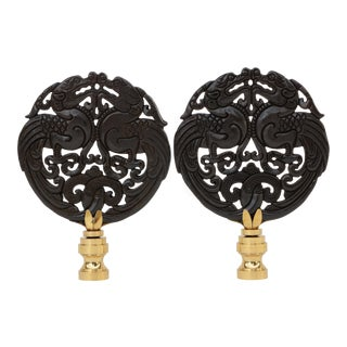 Pixiu Carved Stone Lamp Finials - a Pair For Sale