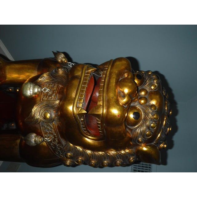 5 Feet Tall Hand Carved Wooden Foo Dogs - Pair For Sale In Little Rock - Image 6 of 8