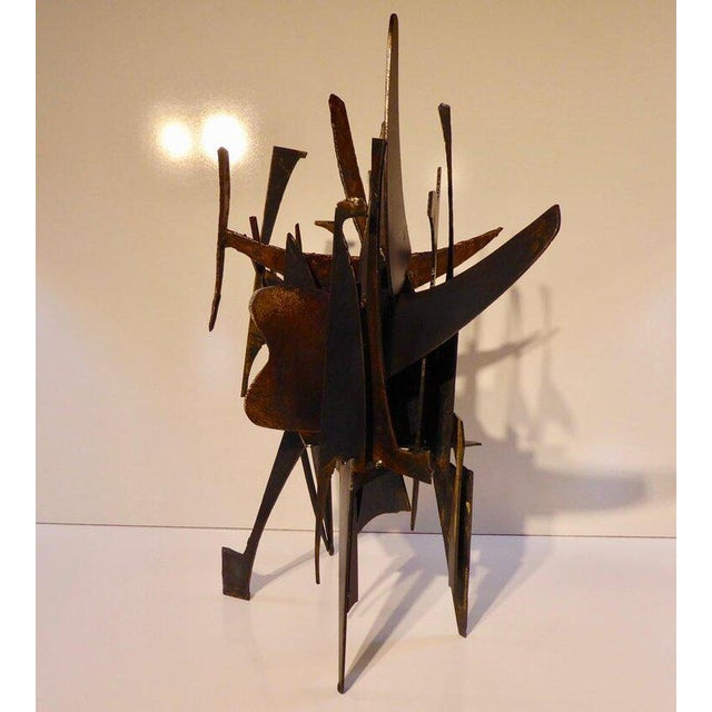 """""""Four Corners"""" an Original Contemporary Steel and Bronze Sculpture by American Artist Joey Vaiasuso For Sale In Palm Springs - Image 6 of 8"""