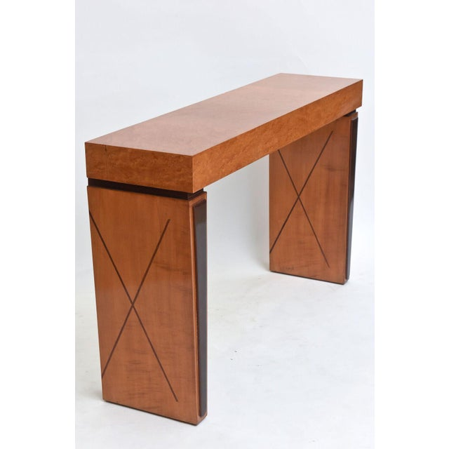 Art Deco Art Deco Burled Walnut and Mahogany Inlaid Console Table, France For Sale - Image 3 of 10