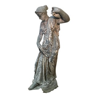 19th Century Metal Fountain of a Grecian Goddess Holding an Urn For Sale