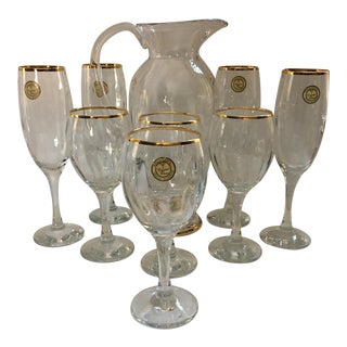 Crystal Champagne Wine Glasses & Pitcher - Set of 9