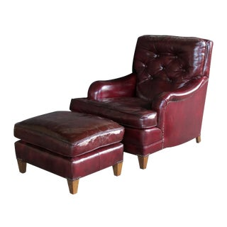 A Handsome and Comfortable American 1940's Chesterfield Club Chair and Ottoman With Deep Burgundy Leather