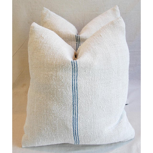 Custom French Grain Sack Down & Feather Pillows - Pair - Image 2 of 9