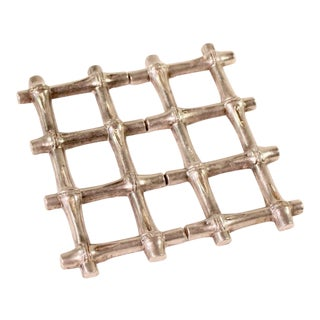 Bamboo Style Silver Plated Trivet For Sale