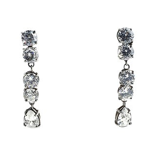 Red Carpet Style Dangling Sterling & Cz Drop Earrings For Sale