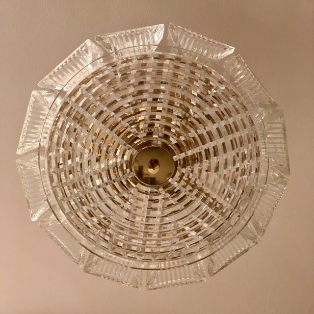 Metal Orrefors Swedish Crystal 1950s Flush Ceiling Hanging Amid Century Pendant For Sale - Image 7 of 9