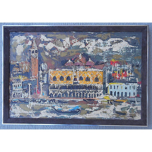 """Oil Paint Vintage Mid Century Original Expressionist Oil On Canvas-""""Venice"""" Cityscape-Framed For Sale - Image 7 of 7"""