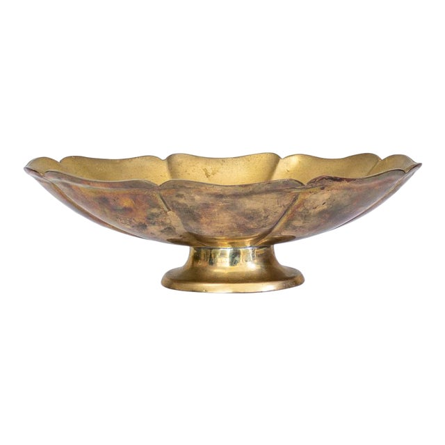 Brass Lotus Pedestal Bowl   Made in India For Sale