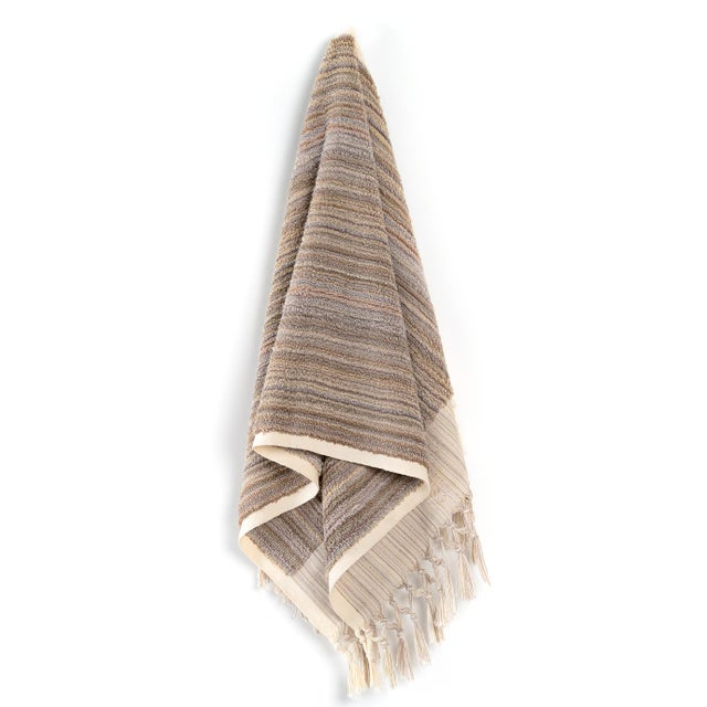 Modern Earth Lines Handmade Organic Cotton Hand Towel in Tan For Sale - Image 3 of 3