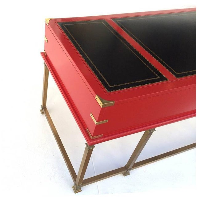 Vintage Campaign Style Writing Table/Desk Lacquered in Red For Sale - Image 10 of 11