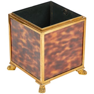 1940s Faux Tortoise Bronze Cube Planter From France. For Sale