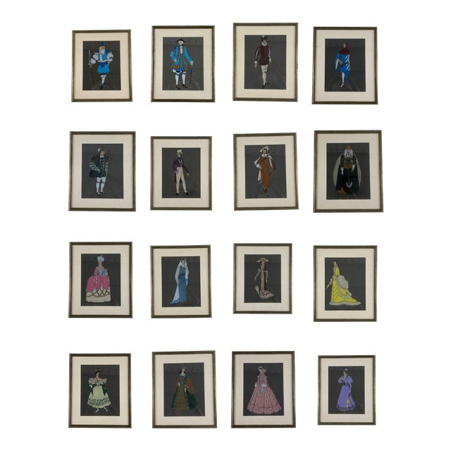 Original Framed Theater Costume Sketches by Autry - Set of 16 For Sale