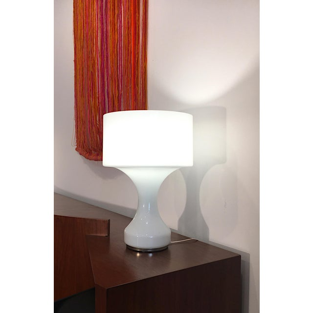Mid-Century Modern White Opal Crystal Hand Blown Glass Enrico Capuzzo Sebenica Lamp for Vistosi, Circa 1965 For Sale - Image 3 of 7