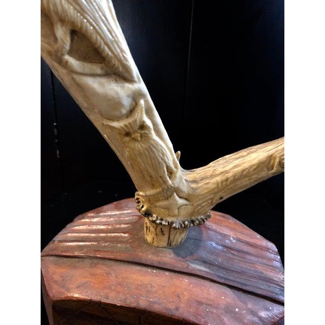 Cabin Hand Carved Antler on Wooden Base For Sale - Image 3 of 11