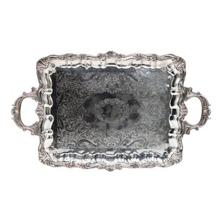 Early 20th Century French Silver Plate Footed Tray With Ornate Scrolls and Engravings For Sale