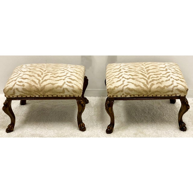 Vintage Carved Walnut French Style Ottomans-A Pair For Sale - Image 4 of 4