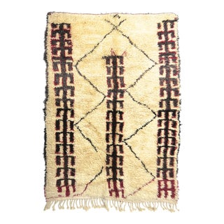 Vintage Moroccan Azilal Rug - 5′ × 7′ For Sale