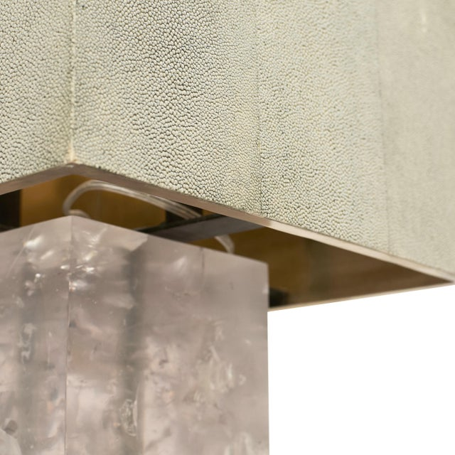 """Hollywood Regency """"Shagreen on the Rock"""" Square Table Lamp by Sylvan San Francisco For Sale - Image 3 of 5"""