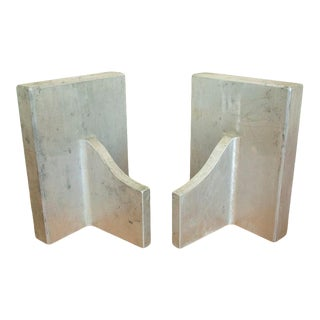 1970s Industrial Modernist Style Metal Bookends - a Pair For Sale