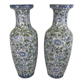 Large Chinese Blue and White Porcelain Vases - a Pair For Sale