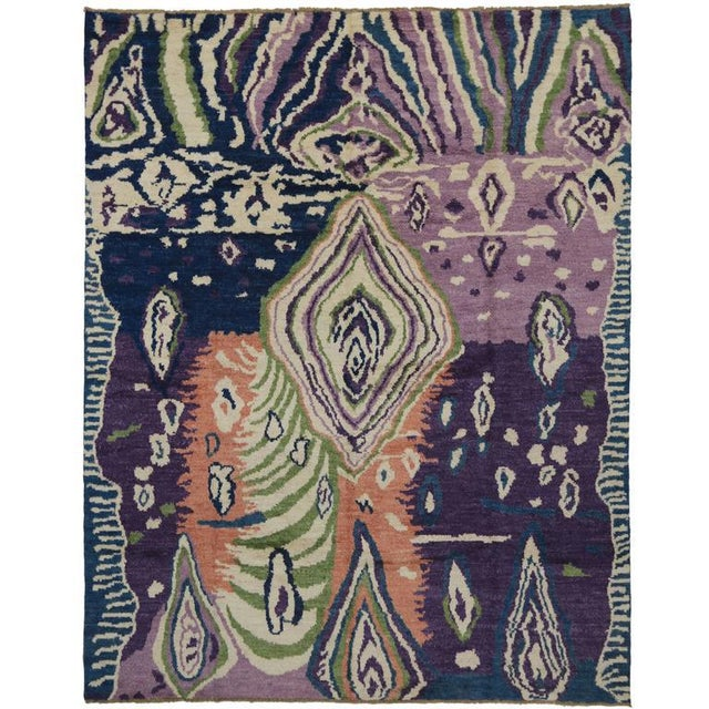 Textile New Contemporary Moroccan Style Area Rug With Postmodern Style and Abstract Memphis Design For Sale - Image 7 of 7