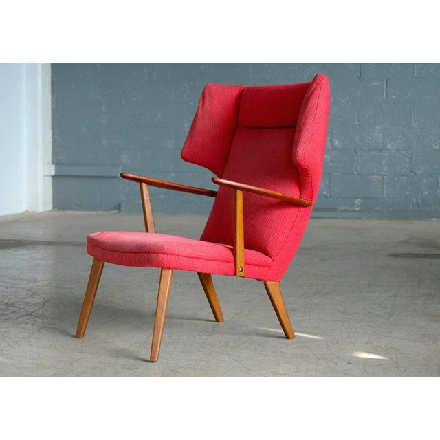 Mid-Century Modern Danish 1950's Madsen and Schubell High Back Lounge Chair in Teak and Oak For Sale - Image 3 of 11