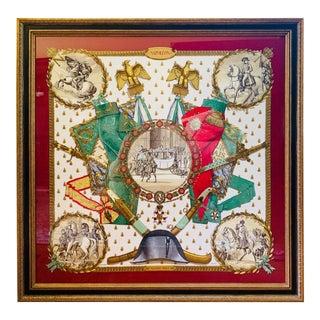 Framed Hermès Napoleanic Scene Scarf For Sale
