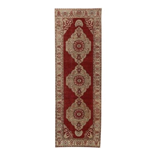 Vintage Turkish Oushak Carpet Runner with Modern Traditional Style