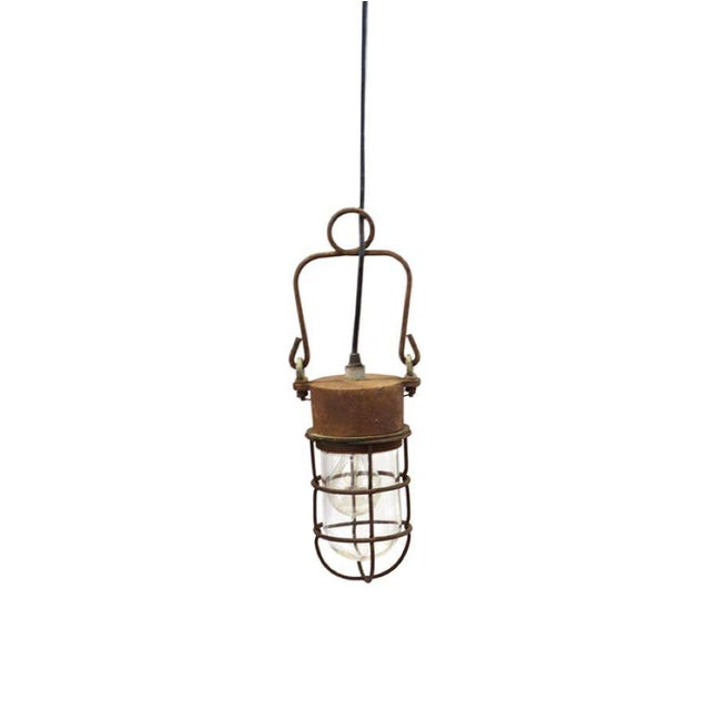 1930s Industrial Caged Pendant Light - Image 1 of 4