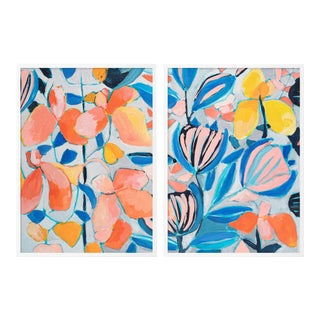 St Barth's 1 Diptych by Lulu DK in White Framed Paper, Small Art Print - A Pair