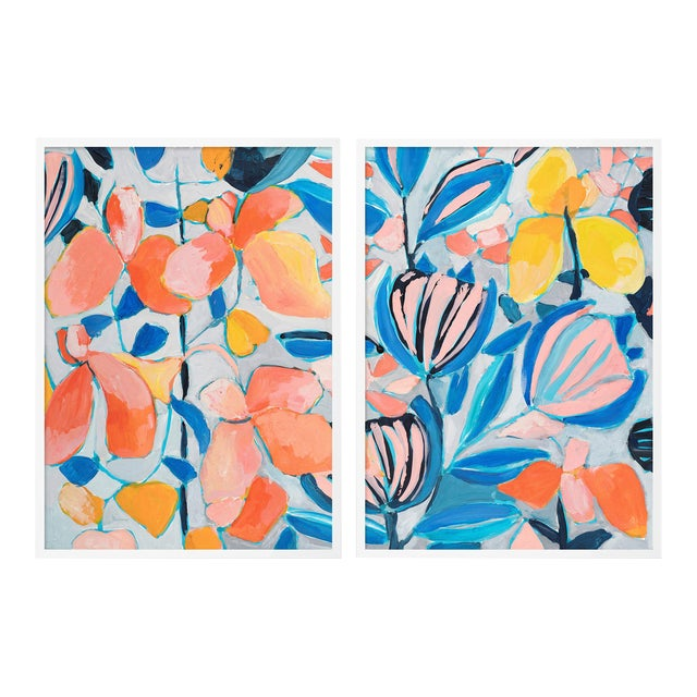 St Barth's 1 Diptych by Lulu DK in White Framed Paper, Small Art Print - A Pair For Sale