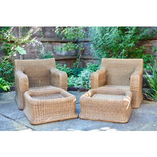 1970s Vintage Sculptural Wicker Armchairs & Ottomans- 4 Pieces Preview