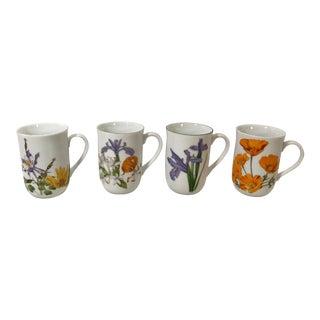 Vintage Japanese Botanical Ceramic Mugs - Set of 4 For Sale