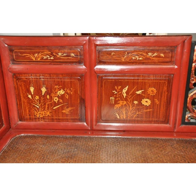 Red Antique Qing Dynasty Gilt Decorated Red Lacquered Opium Bed With Inlaid Panels For Sale - Image 8 of 11