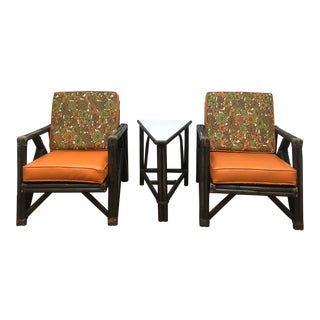Mid Century Rattan Chairs W Vintage Upholstery & Matching End Table For Sale