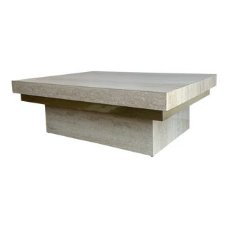 Faux Travertine and Brass Coffee Table For Sale