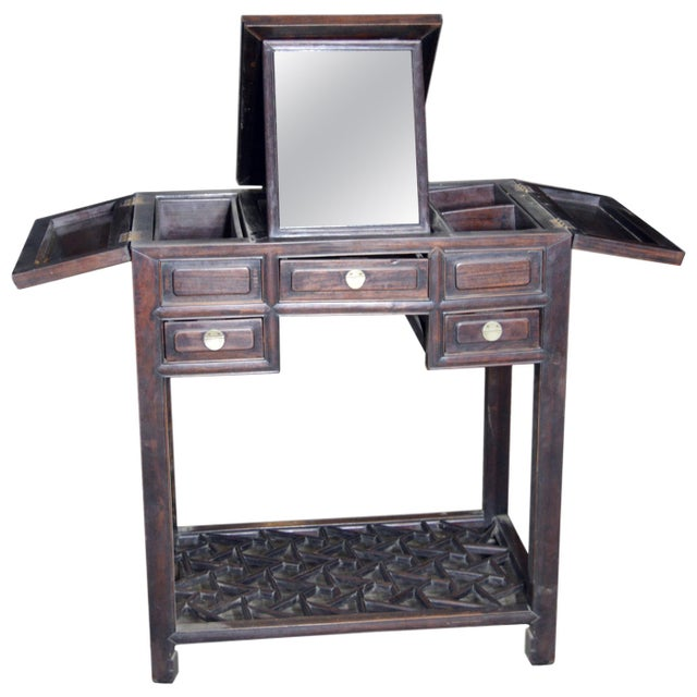 Gold Chinese Vintage Dark Lacquered Wood Dressing Table With Mirror and Drawers For Sale - Image 8 of 8