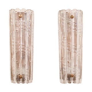 1970's Vintage Carl Fagerlund for Orrefors Glass Sconces- A Pair For Sale