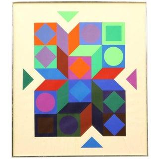 Vintage Mid-Century Victor Vasarel, Untitled Geometrics Serigraph Print For Sale