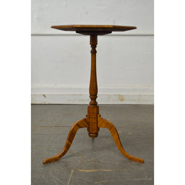 Traditional Eldred Wheeler Tiger Maple Snake Foot Candle Stand For Sale - Image 3 of 10