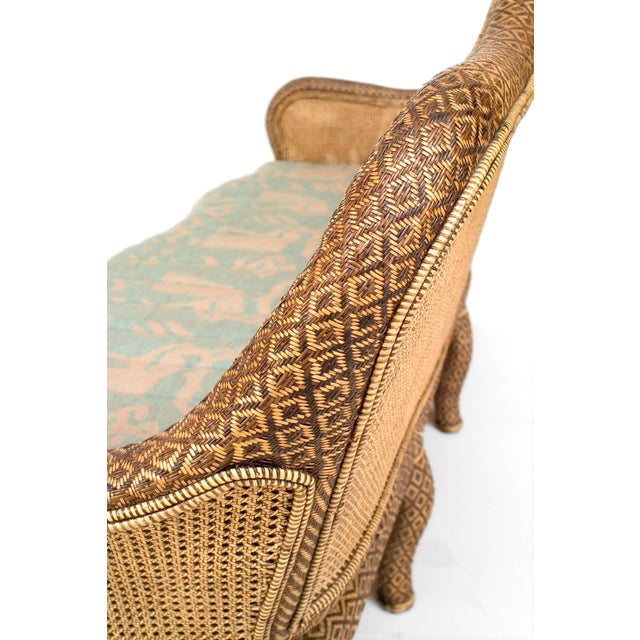 1900 - 1909 English 'Anglo-Indian Style' Natural Wicker Settee For Sale - Image 5 of 6