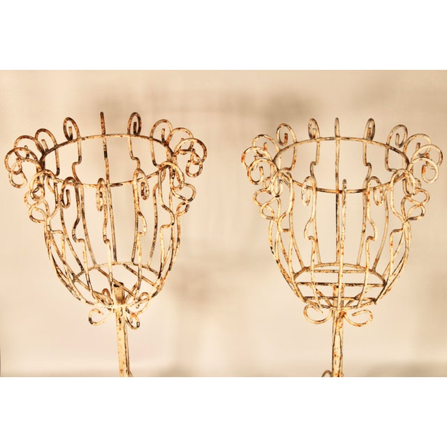 Large French Pedestal Cast Iron Basket Jardinieres - a Pair For Sale - Image 4 of 13