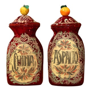 Vintage Italian Painted Blown Glass Apothecary Jars With Fruit Motifs - a Pair For Sale