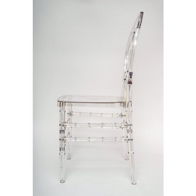 Lucite Stacking Chairs Faux Bamboo Hollywood Regency - Set of 10 For Sale - Image 9 of 13