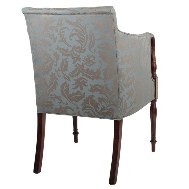 American Classical Southwood Sheraton Style Inlaid Mahogany Club Chairs - A Pair For Sale - Image 3 of 10